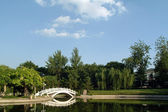 White curved bridge in the parks — Stock Photo