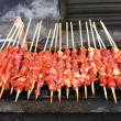 Closeup of shish kebab that is being gri - Stock Photo