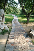 Stone walkway winding in garden — Stock Photo