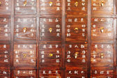 Drawers full of chinese herbal medicine — Stock Photo