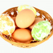 Basket containing easter eggs — Stock Photo