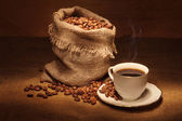 Coffee bag and cup — Stock Photo