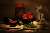 Vegetables and utensils — Stock Photo