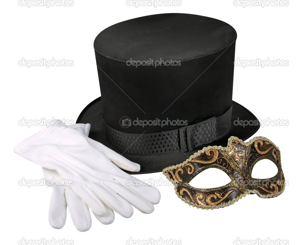 Silk hat, mask and gloves on white background with clipping path — Stock Photo #2042112
