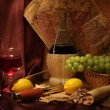 Stock Photo: Wine, fruits and old maps