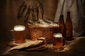 Beer and fishes — Foto Stock