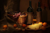 Wine, cheese and fruits — Stock Photo