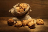 Bag of walnuts — Stock Photo