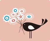 Vector bird and flower — Stock Vector