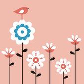 Vector flower and bird — Stock Vector