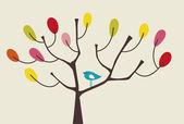 Pájaro y árbol — Vector de stock