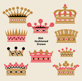 Vector old-fashioned crown sets — Stock Vector