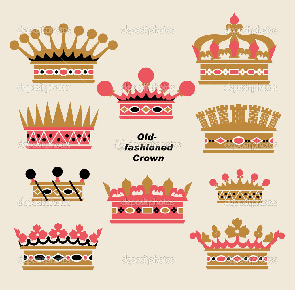 Vector old-fashioned crown sets — Stock Vector #2092969