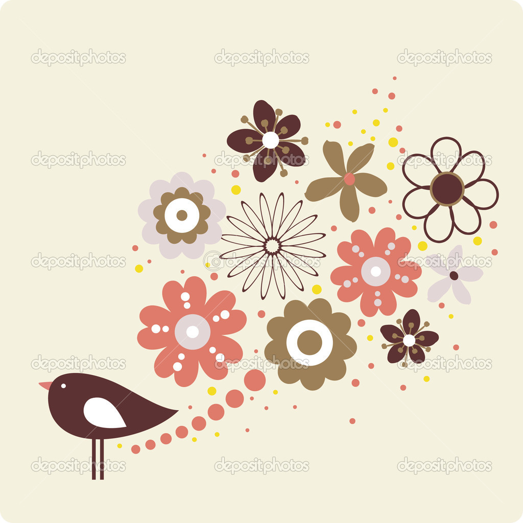 Vector flower and bird — Stock Vector #2093086