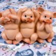 Piggy bank in paper money — Stock Photo #2091718