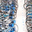 Foto Stock: Bike parking in big city