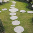 The curving stepping stone footpath in the landscape garden. — Foto Stock