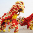 Chinese people playing lion dance celebrating the coming new year. — Stock Photo
