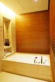 Modern bath room with wood panel — Stock Photo