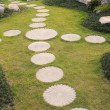 Stock Photo: Curving stepping stone footpath in landscape garden.