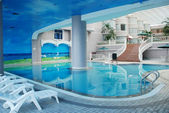 The indoor hotel swimming pool — Stock Photo