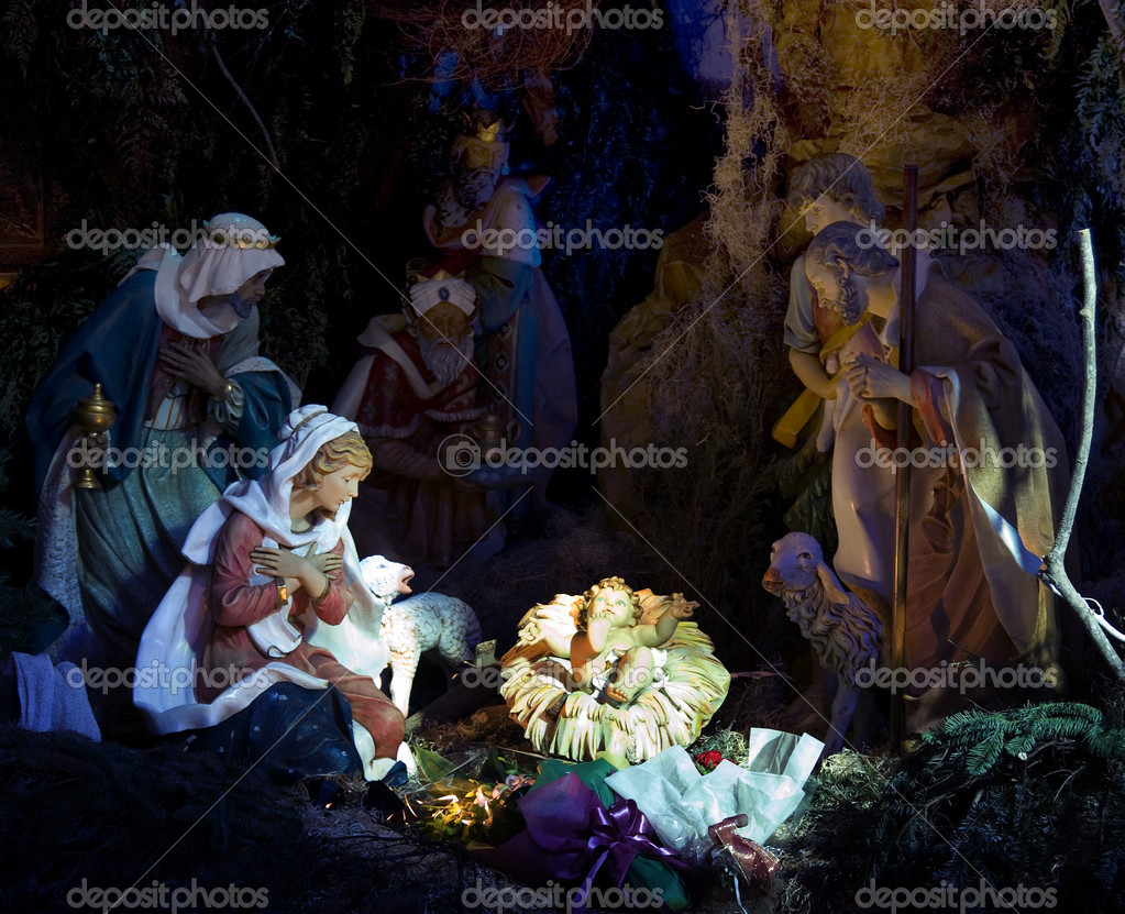 A night time shot of the nativity scene.  Stock Photo #2525134