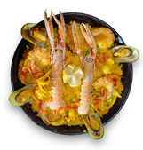 Paella with seafood — Stock Photo