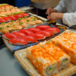 Sushi preparation on kitchen — Stock Photo