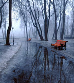 Benches and pools — Stock Photo