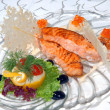 Fillet of fish with red caviar — Stock Photo