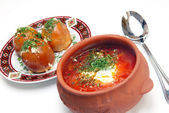 The Ukrainian borsch with sour cream — Stock Photo