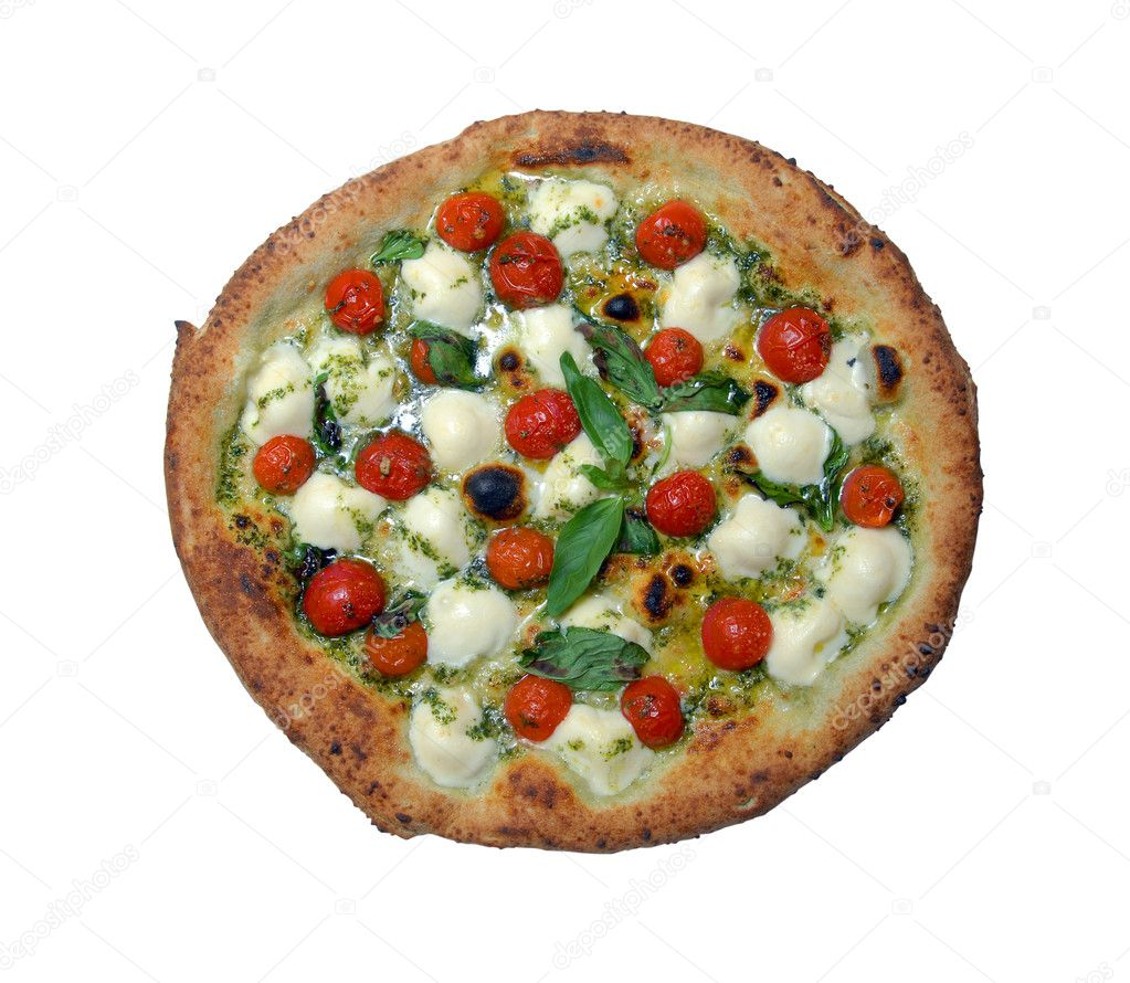 Pizza with tomatoes and cheese a mozzarella on a white background  Stock Photo #2163720