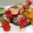 Stock Photo: Shish kebabs from seafood and vegetables