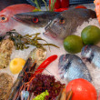 Show-window of fish restaurant — Stock Photo