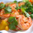 The big tiger shrimps with vegetables — Stock Photo #2189065