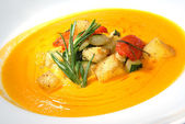Pumpkin soup with vegetables — Stock Photo