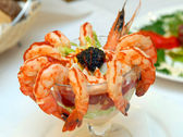 The cleared shrimps with black caviar — Stock Photo