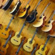 Guitars in shop of musical instruments — Stock Photo