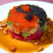 Salad from tuna with caviar - Stock Photo