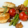 Chicken cutlets with asparagus - Stock Photo