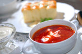 The Ukrainian borsch with sour cream — Foto Stock