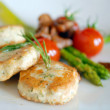 Chicken cutlets with asparagus — Stock Photo #2304108