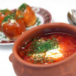 Stock Photo: Ukrainiborsch with sour cream