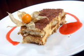 Tiramisu with a chocolate crumb — Stock Photo