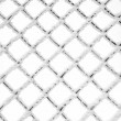 Stock Photo: Hoarfrost and snow on metal grid