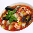 Tomato soup with seafood and fish — Stock Photo