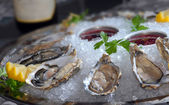 Oysters in ice with a lemon and wine — Stock Photo