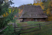 House of Carpathians with cart — Stock Photo