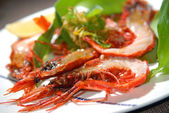 Tiger shrimps fried on a grill — Stock Photo