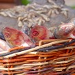 Stock Photo: Fresh fish in wattled basket